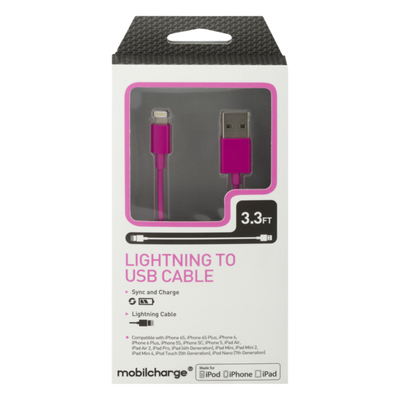 MobilEssentials Mobilcharge Lightning To USB Cable 3.3 FT
