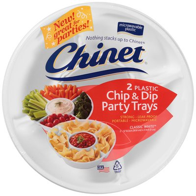 Chinet Chip & Dip Plastic Classic White Party Trays