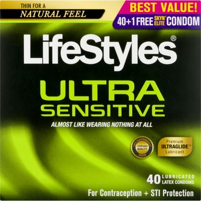 LifeStyles Lubricated Latex Condoms Ultra Sensitive
