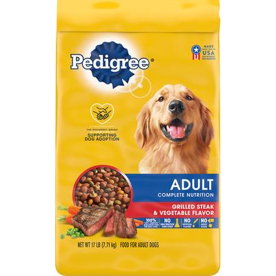 Pedigree Food for Adult Dogs, Grilled Steak & Vegetable Flavor, Complete Nutrition