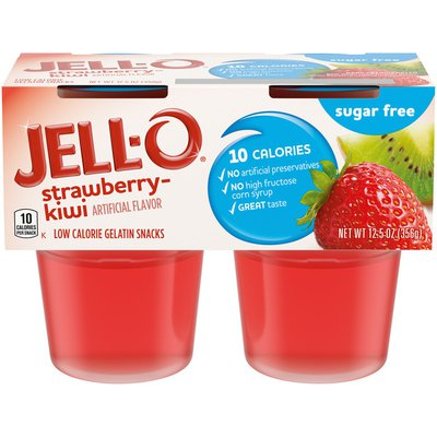Jell-O Strawberry Kiwi Sugar Free Ready-to-Eat Jello Cups Gelatin Snack