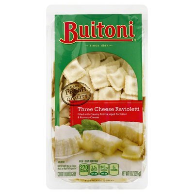 Buitoni Freshly Made. Filled with Ricotta, Parmesan and Romano Cheeses Three Cheese Ravioletti