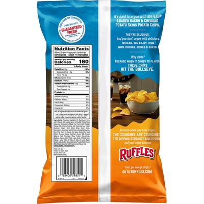 Ruffles Loaded Bacon & Cheddar Potato Skins Potato Chips