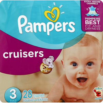 Pampers Diapers, Size 3 (16-28 lb), Sesame Street