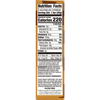 Larabar Gluten Free Bar, Peanut Butter Chocolate Chip, Vegan