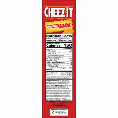 Cheez-It Cheese Crackers, Baked Snack Crackers, Office and Kids Snacks, Cheddar Jack