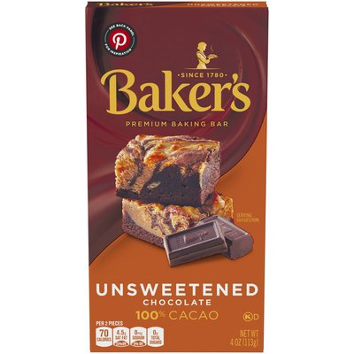 Baker'S Unsweetened Chocolate Premium Baking Bar with 100 % Cacao