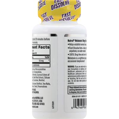 Natrol Melatonin, 10mg, Fast-Dissolve, Maximum Strength
