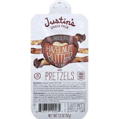 Justin's Snack Pack, Chocolate Hazelnut Butter Blend with Pretzels