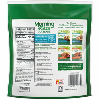 Morning Star Farms Crumbles, Plant Based Protein Vegan Meat, Frozen Meal, Meatless Chorizo