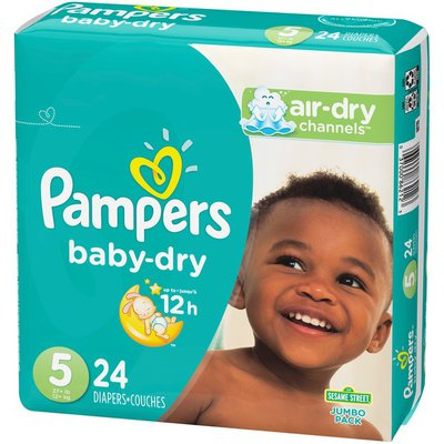 Pampers Baby Dry Diapers, Size 5 (27+ lb)