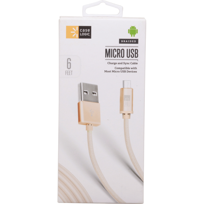 Case Logic Charge and Sync Cable, Micro USB, Braided, 6 Feet