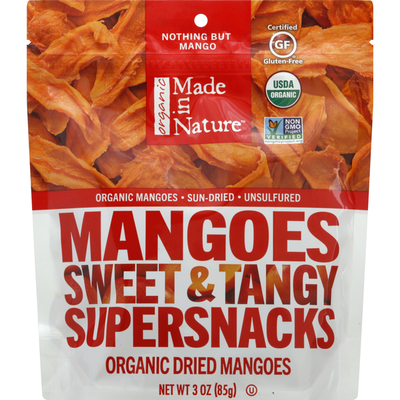 Made In Nature Dried Mangoes, Organic, Sweet & Tangy