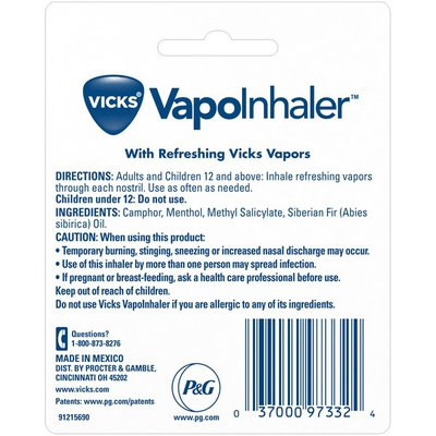 Vicks Vapoinhaler, Portable Nasal Inhaler, Non-Medicated, Soothing Vapors To