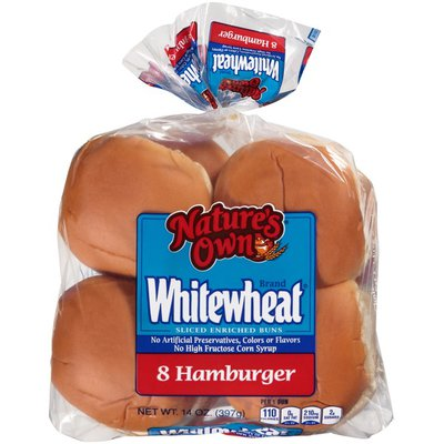 Nature's Own Whitewheat Sliced Enriched Hamburger Buns - 8 CT