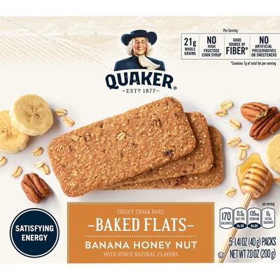 Quaker Baked Flats Breakfast Flats Banana Honey Nut Breakfast Bars