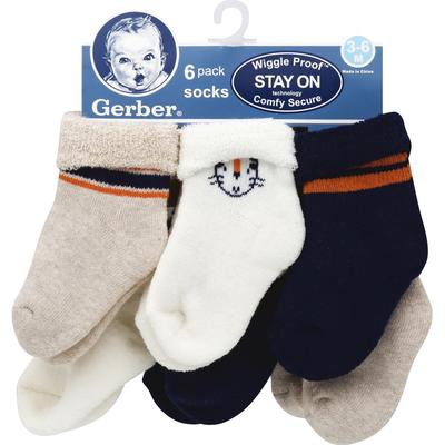 Gerber Socks, Wiggle Proof, 3-6 Months, 6 Pack