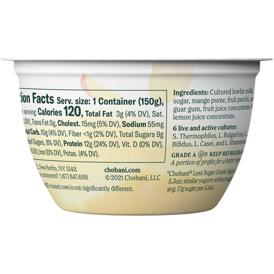 Chobani Less Sugar Low-Fat Greek Yogurt Alphonso Mango