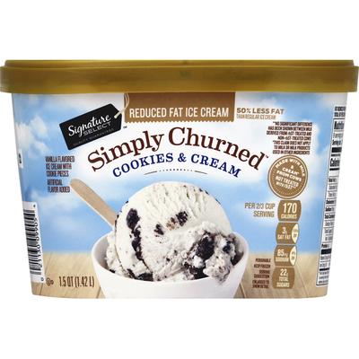 Signature Select Ice Cream, Reduced Fat, Cookies & Cream