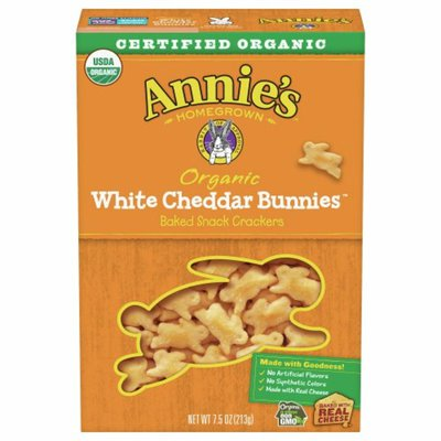 Annie's Baked Snack Crackers, Organic, White Cheddar Bunnies
