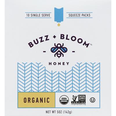 Buzz + Bloom Honey, Organic, Single Serve Squeeze Packs