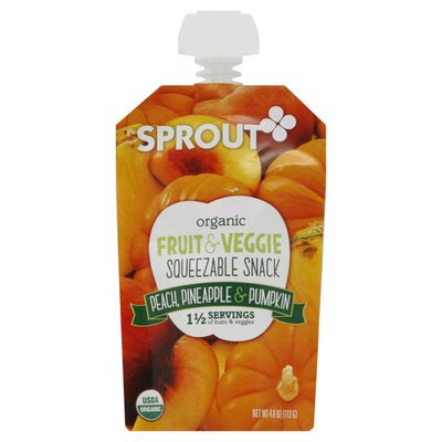 Sprout Squeezable Snack, Organic, Fruit & Veggie, Peach, Pineapple & Pumpkin