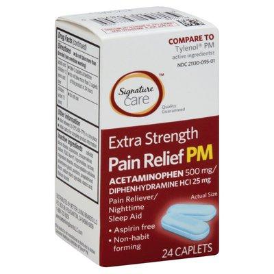 Signature Care Pain Reliever PM, Extra Strength, Caplets