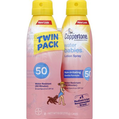 Coppertone Sunscreen, Lotion Spray, Broad Spectrum SPF 50, Twin Pack