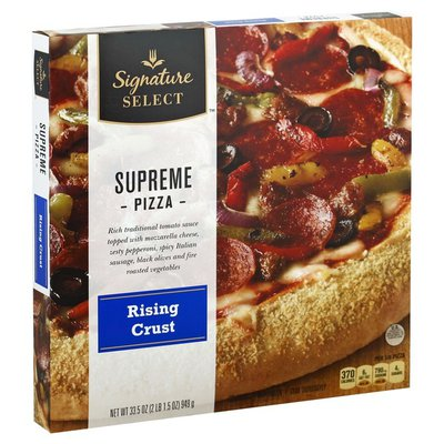 Signature Select Rising Crust Supreme Rich Traditional Tomato Sauce Topped With Mozzarella Cheese, Zesty Pepperoni, Spicy Italian Sausage, Black Olives, And Fire Roasted Red, Green & Yellow Peppers And Onions Pizza