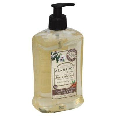 A La Maison de Provence Liquid Soap, Hand & Body, Sweet Almond, Bottle