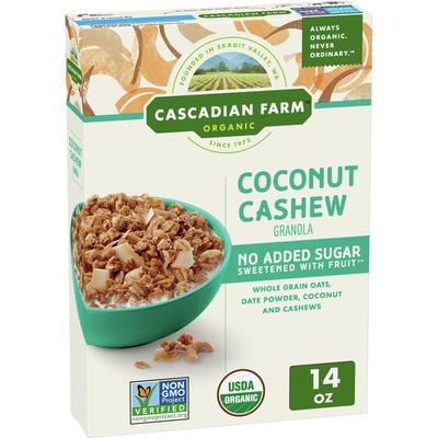 Cascadian Farm Organic  Granola, No Added Sugar, Coconut Cashew