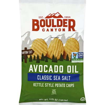 Boulder Canyon Potato Chips, Classic Sea Salt, Avocado Oil, Kettle Style