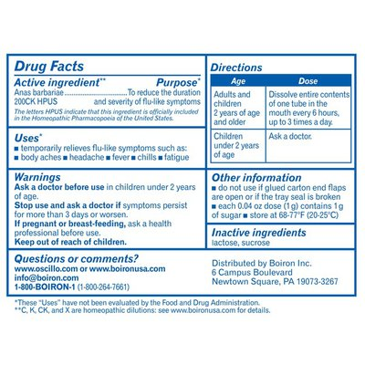 Boiron Oscillococcinum, Homeopathic Medicine for Flu-Like Symptoms