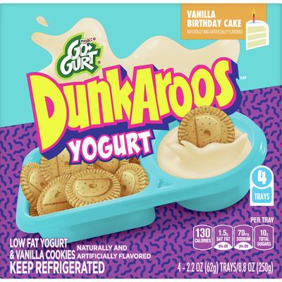 Dunkaroos Yogurt & Cookies, Vanilla Birthday Cake, 4 Pack
