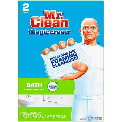 Mr. Clean Magic Eraser Bath, Cleaning Pads with Durafoam, Meadows & Rain