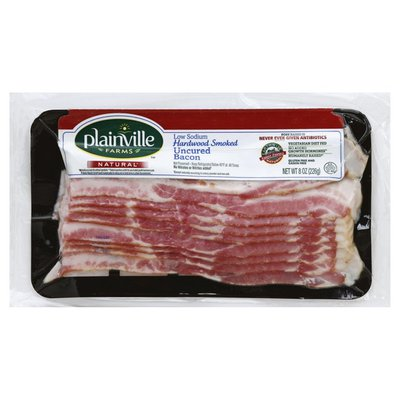 Plainville Farms Bacon, Uncured, Low Sodium, Hardwood Smoked