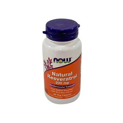 Now Natural Resveratrol 200 Mg With Red Wine Extract Cardiovascular Support, Free Radical Scavenger Dietary Supplement Veg Capsules