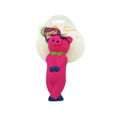 "Leaps & Bounds Bashful Nerdy 5.5"" Pig Latex Dog Toy Small"