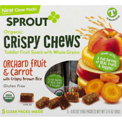 Sprout Organic Crispy Chews Toddler Snack with Whole Grains Orchard Fruit & Carrot with Crispy Brown Rice