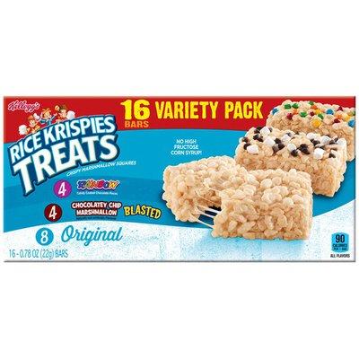Kellogg's Rice Krispies Treats Rainbow/Chocolatey Chip Marshmallow/Original Variety Pack Crispy Marshmallow Squares