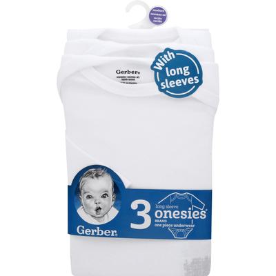 Gerber One Piece Underwear, with Long Sleeves, Newborn