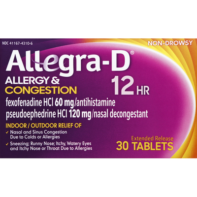 Allegra Allergy & Congestion, 12 HR, Extended Release Tablets