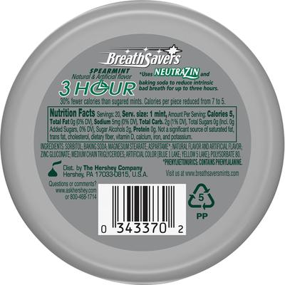 Breath Savers Mint, Sugar Free, 3 Hour, Spearmint