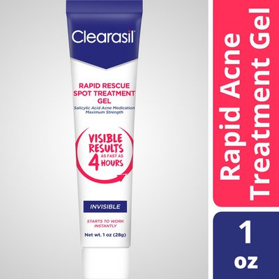 Clearasil Rapid Rescue Spot Treatment Gel, Invisible-Medicated Salicylic Acid Acne Treatment