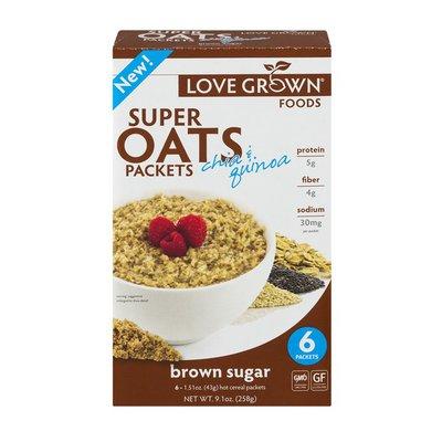 Love Grown Super Oats Packets Chia & Quinoa Brown Sugar - 6 CT