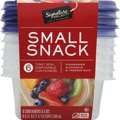 Signature Select Containers & Lids, Small Snack, 9.5 Ounce