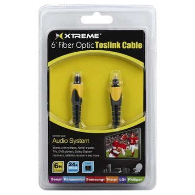 Xtreme Audio Cable, Toslink, Fiber Optic, 6 Inch