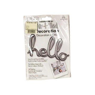 Amscan Hello Shape Script Phrase Balloon - Silver Foil - 99cm