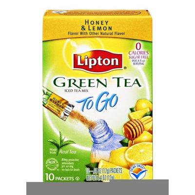 Lipton To Go Green Tea Honey & Lemon Sugar Free Iced Tea Mix- 10 CT