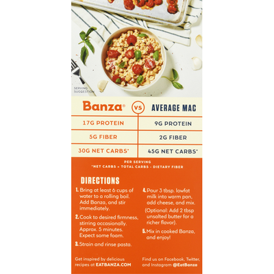 Banza Mac & Cheese, Made With Chickpea Pasta, White Cheddar